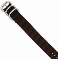26mm 10.5 Brown Military-style Nylon Silver-tone Buckle Watch Band