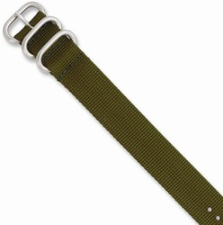 24mm 10.5 Olive Military-style Nylon Silver-tone Buckle Watch Band