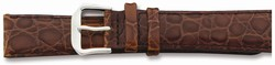 16mm 6.75 Brown Alligator Style Grain Leather Silver-tone Buckle Watch Band