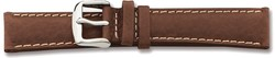 16mm 7.5 Brown Sport Leather White Stitch Silver-tone Buckle Watch Band