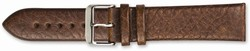 18mm 7.75 Brown Distressed Leather Silver-tone Buckle Watch Band