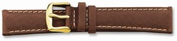 16mm 7.5 Brown Sport Leather White Stitch Gold-tone Buckle Watch Band
